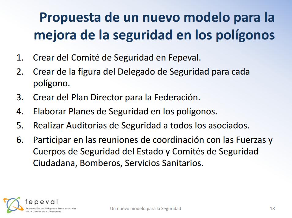 Nuevo modelo de seguridad propuesto en el I Congreso Nacional de Parques Empresariales.