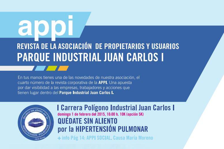 Cuarto número de la revista corporativa de APPI, Asociación de Propietarios y Usuarios del Parque Industrial Juan Carlos I (Almussafes).