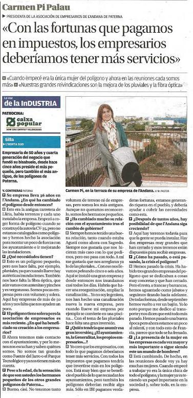 Artículo de Carmen Pi (Polígono L'Andana de Paterna) en Levante-EMV