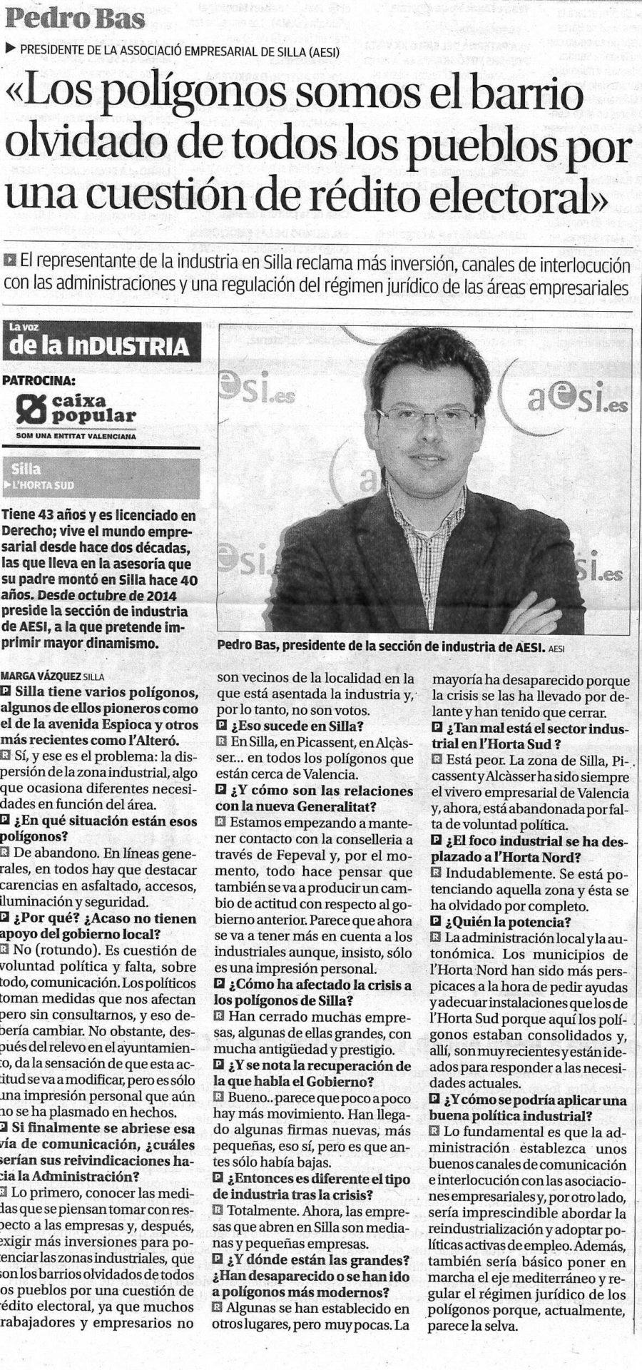Artículo de Pedro Bas (AESI, Silla) en Levante-EMV